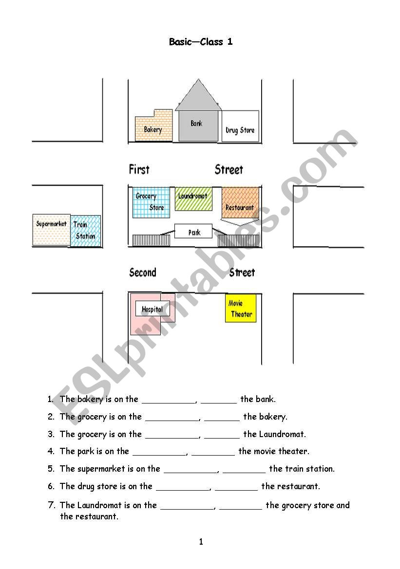 hight resolution of Giving Directions - ESL worksheet by christineyez