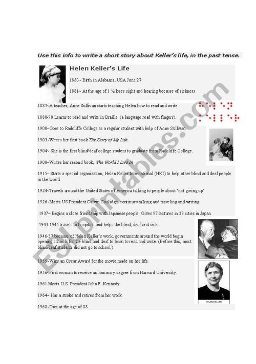 small resolution of Helen Keller´s Life- Timeline - ESL worksheet by sallysally