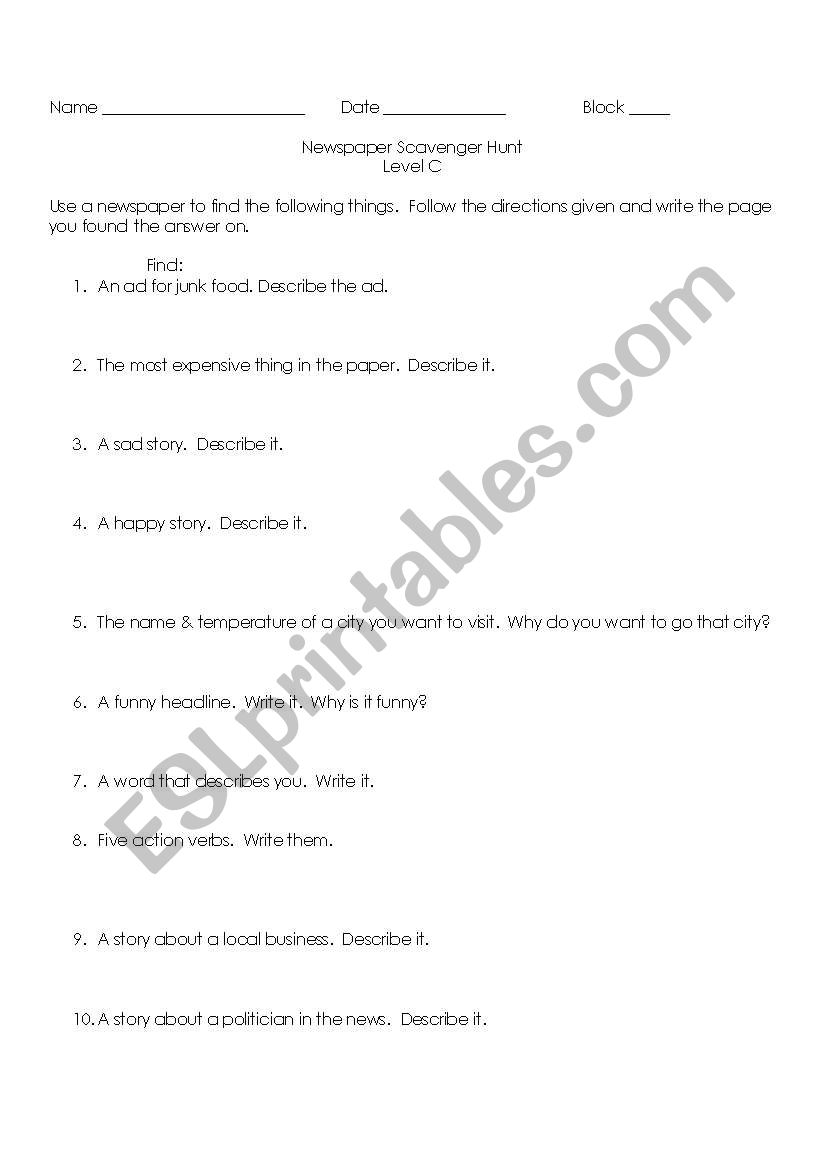 English worksheets: Newspaper Scavenger Hunt Level C