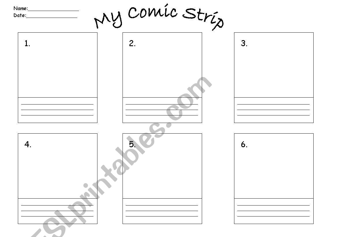 English Worksheets Comic Strip Template