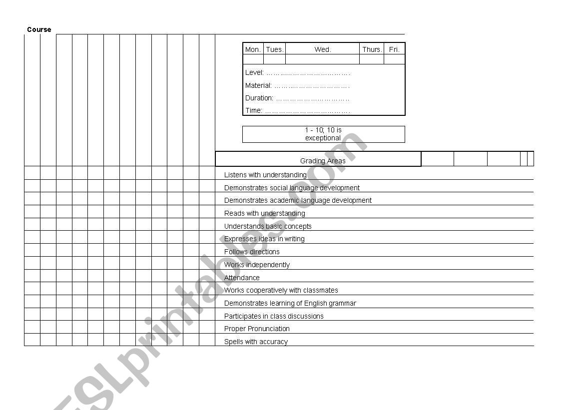 Evaluation Sheet For Esl Efl Students