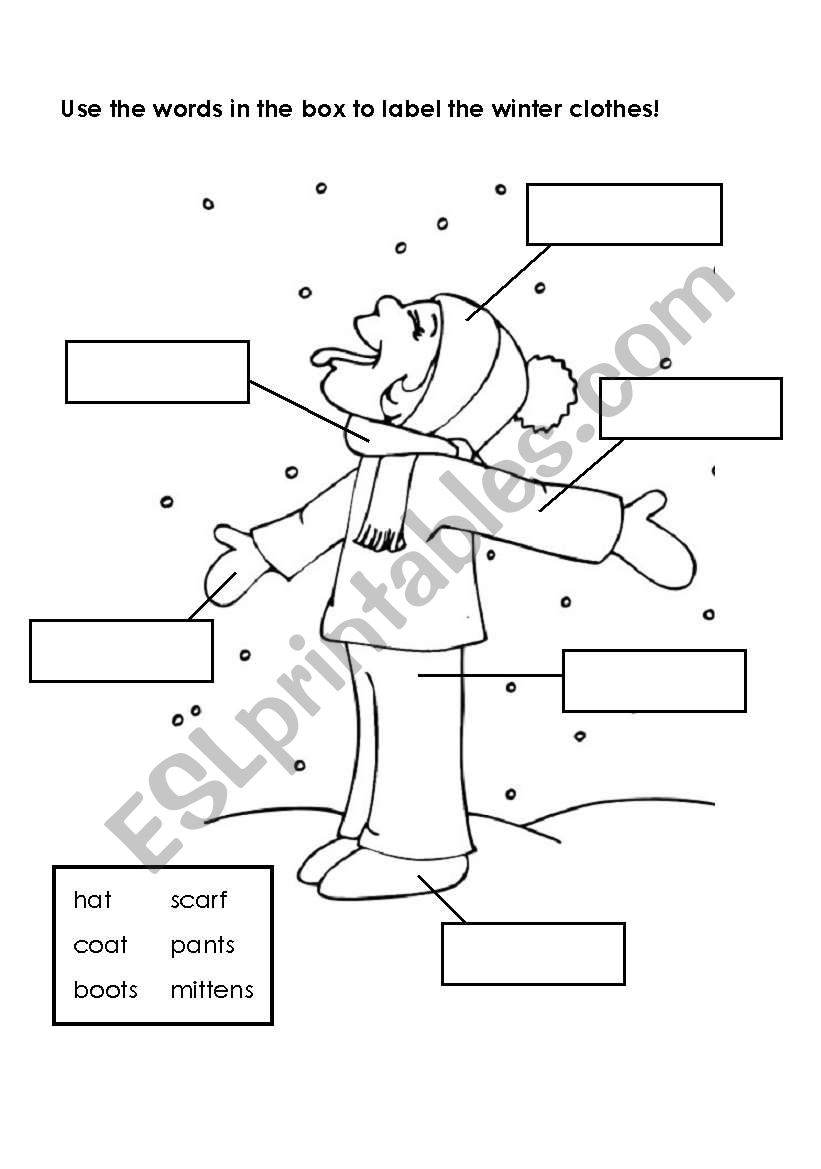 English worksheets: Labeling Winter Clothes