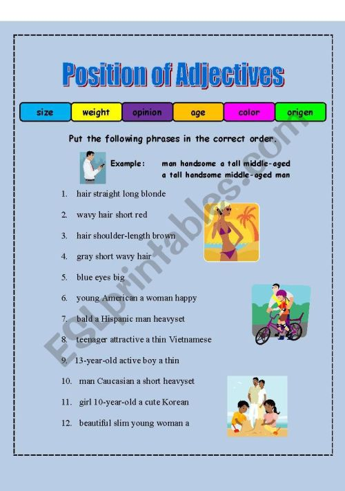small resolution of Coordinating Adjectives Worksheet   Printable Worksheets and Activities for  Teachers