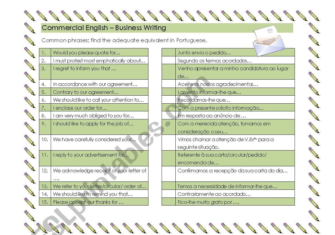 Business Writing Common Phrases