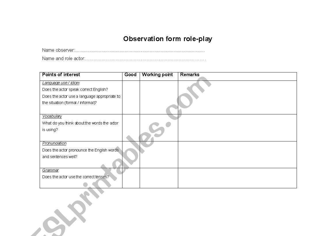 English Worksheets Observation Form