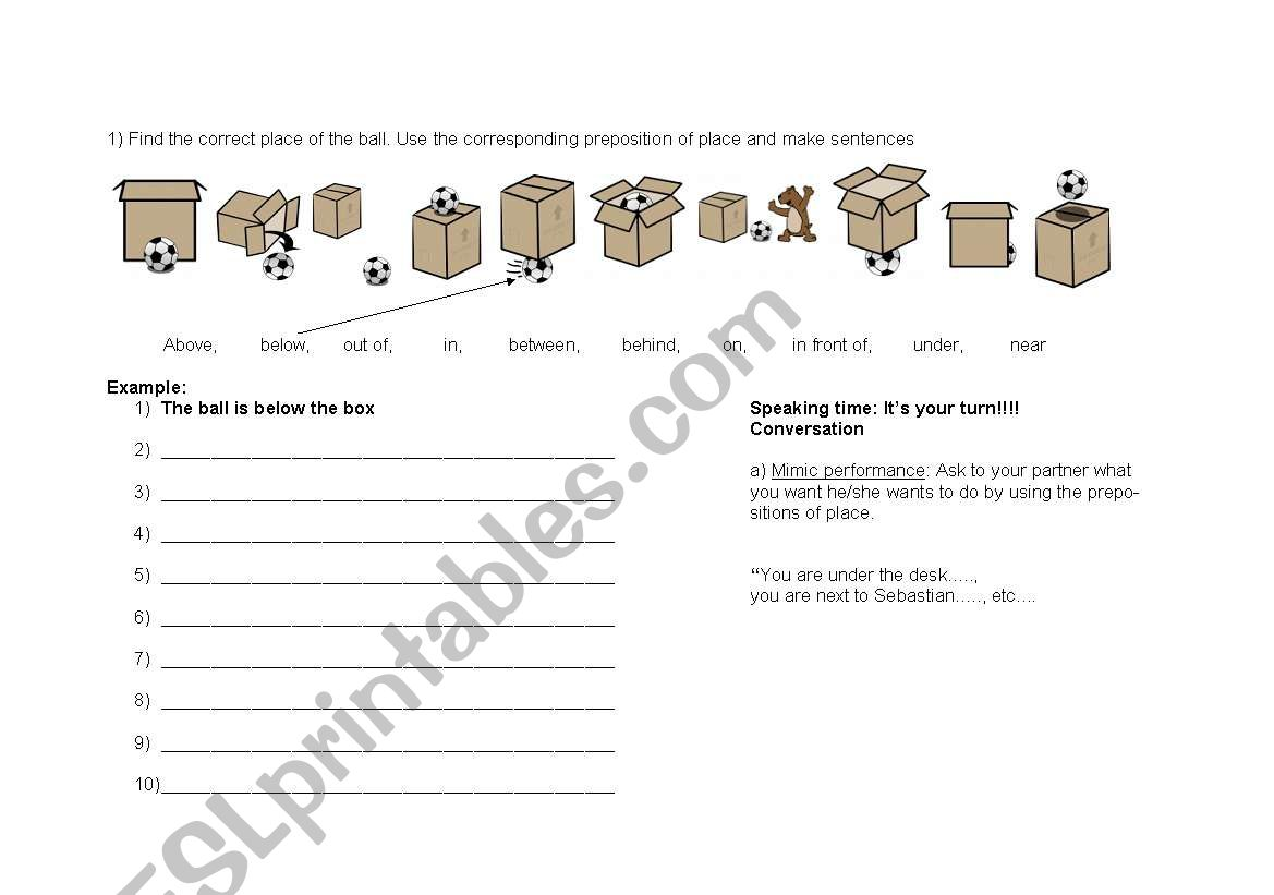 Preposition Of Place Worksheet