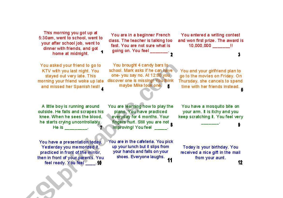 Feelings Upper Intermediate Game Set Color B Amp W Answer