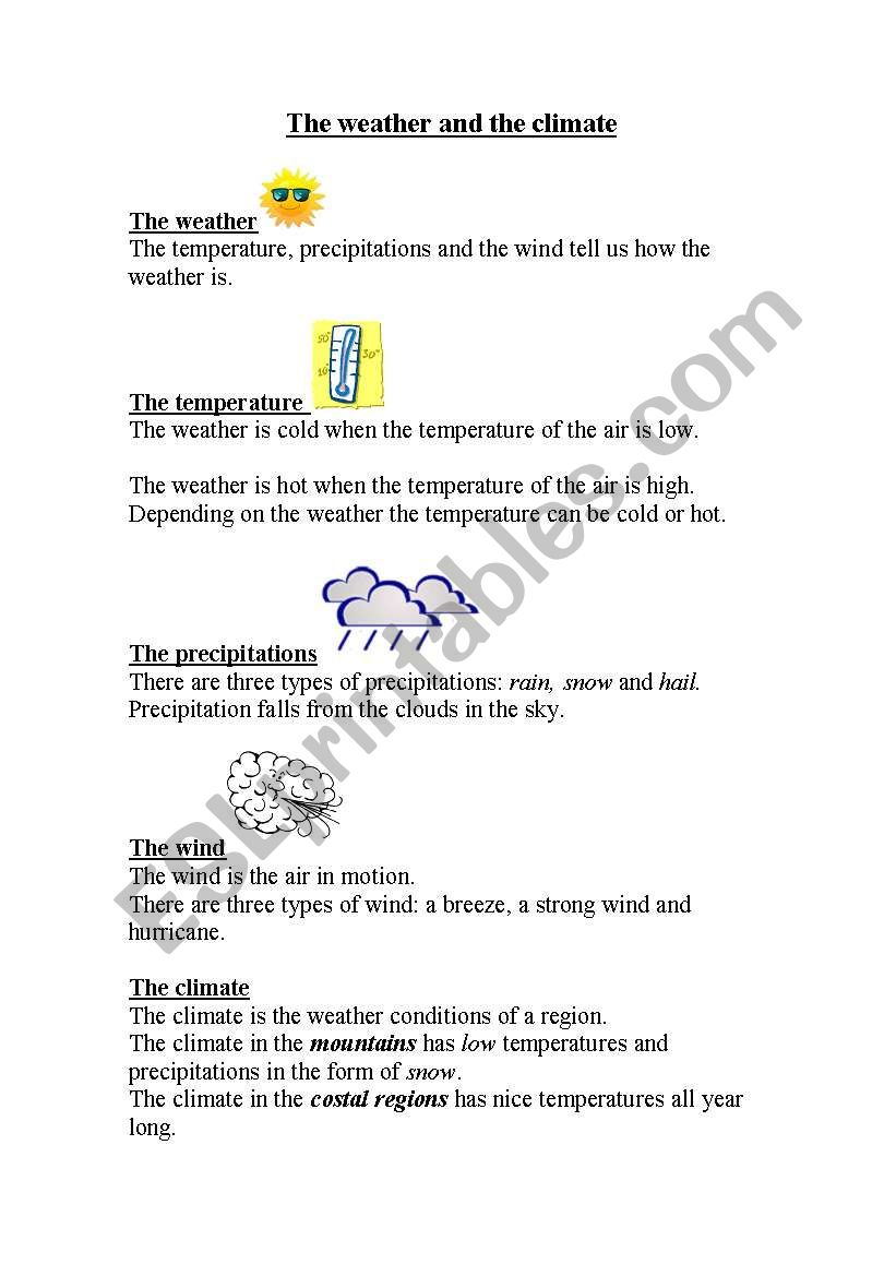 hight resolution of weather and climate - ESL worksheet by kaylaj29