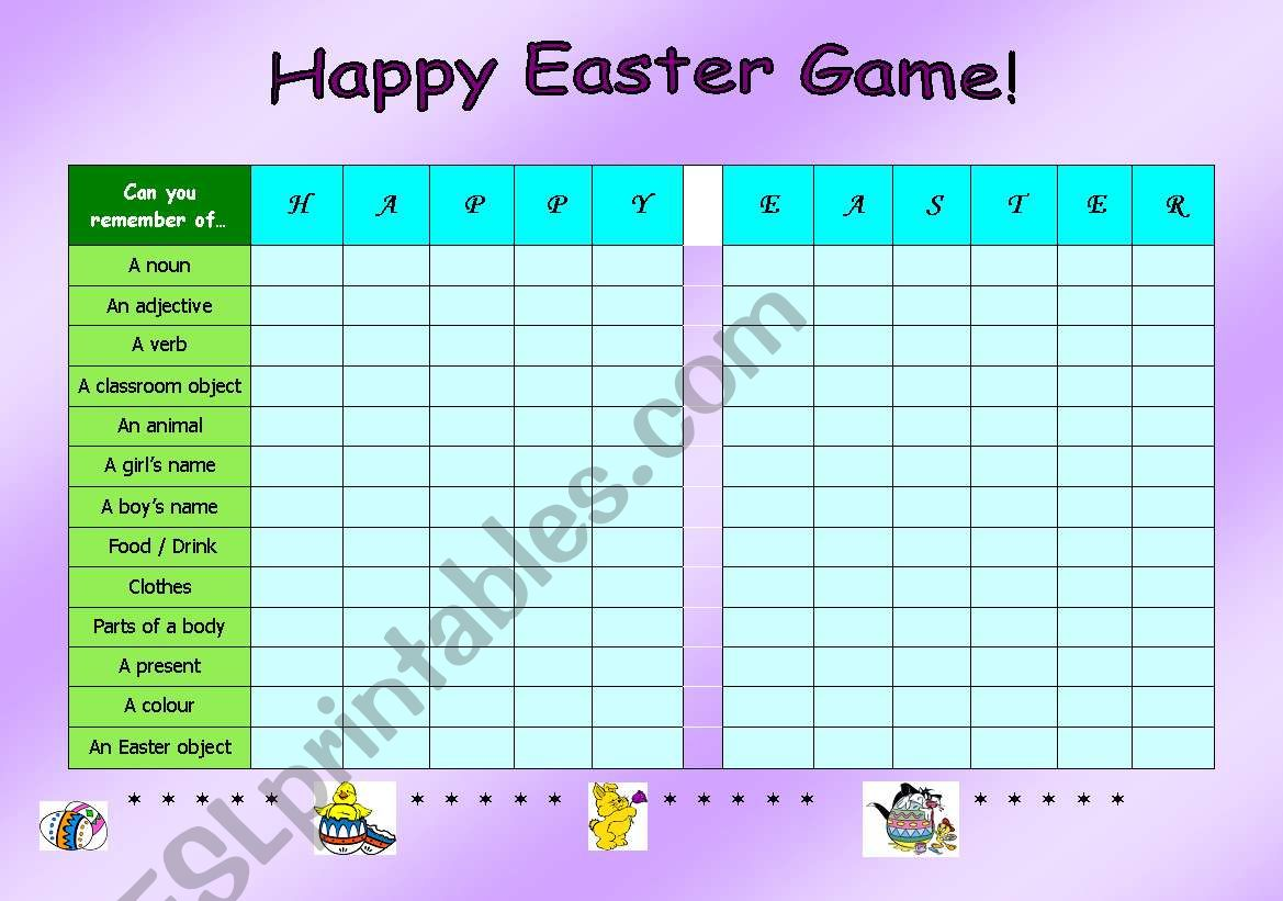 Happy Easter Game