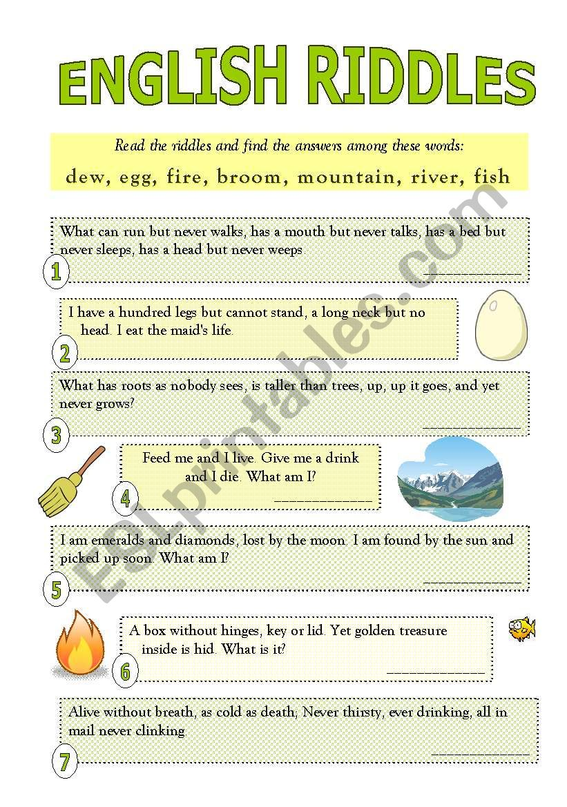 English Worksheets English Riddles With Answers