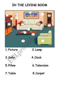 IN THE LIVING ROOM FURNITURE - ESL worksheet by Lena68