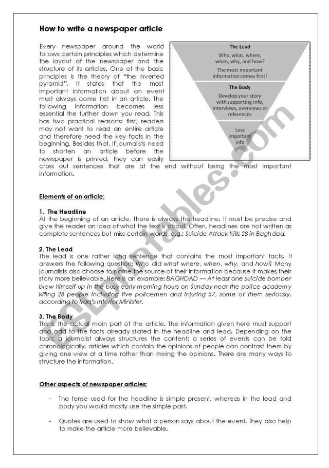 How to write a newspaper article - ESL worksheet by bionicboy