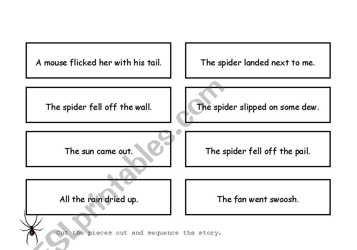 English Worksheets Itsy Bitsy Spider Sequencing