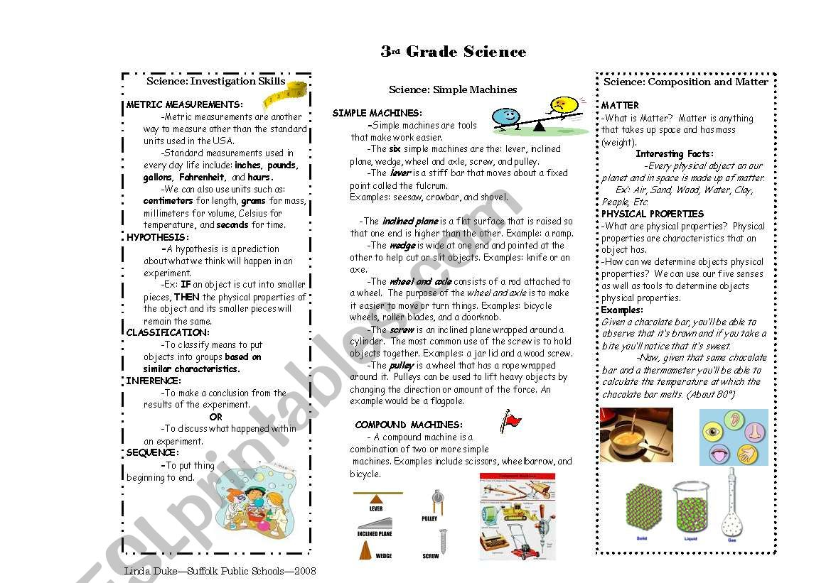 Simple Machines And Matter Study Guide With Pictures