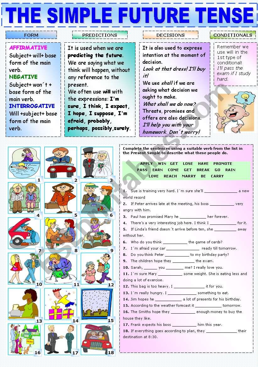 hight resolution of THE SIMPLE FUTURE TENSE - ESL worksheet by Katiana