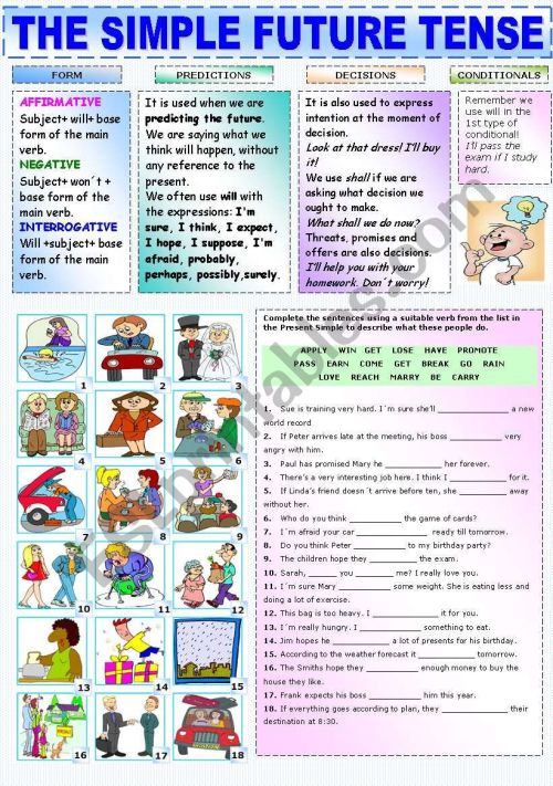 small resolution of THE SIMPLE FUTURE TENSE - ESL worksheet by Katiana