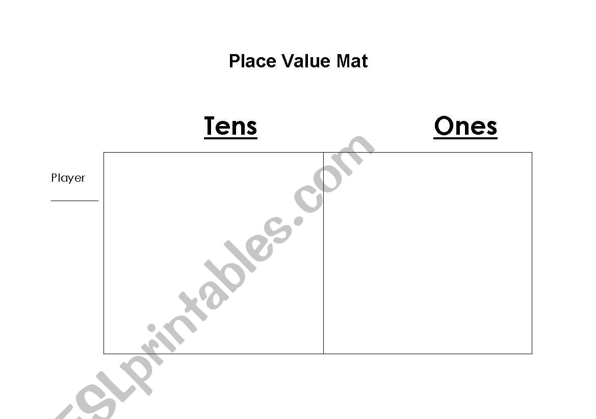 English Worksheets Place Value Mat Tens And Ones