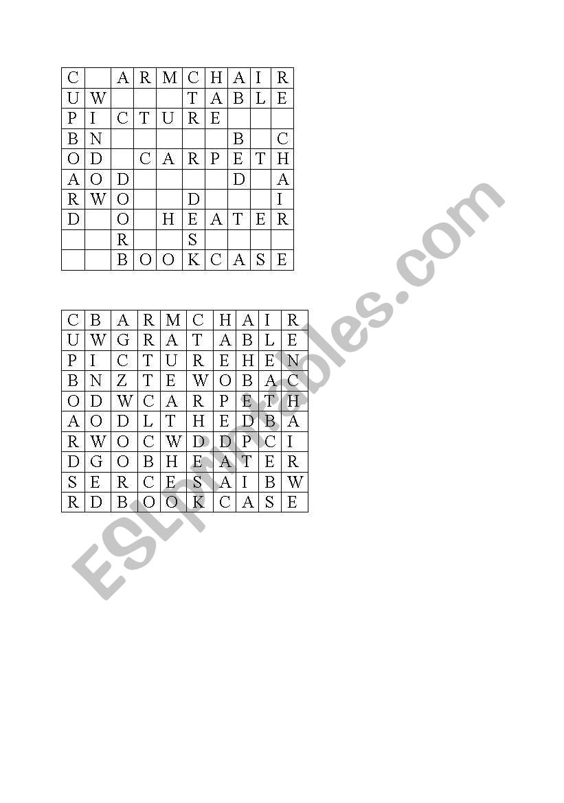 English worksheets: furniture spidergram
