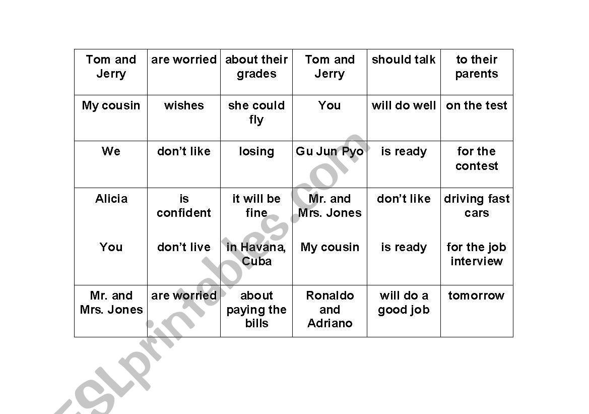 English Worksheets I M Worried Bingo