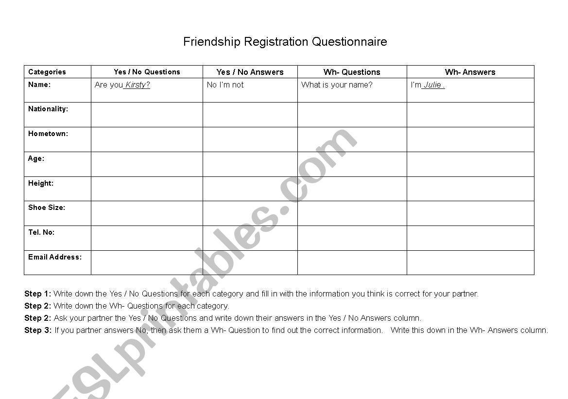 English Worksheets Friendship Registration Form