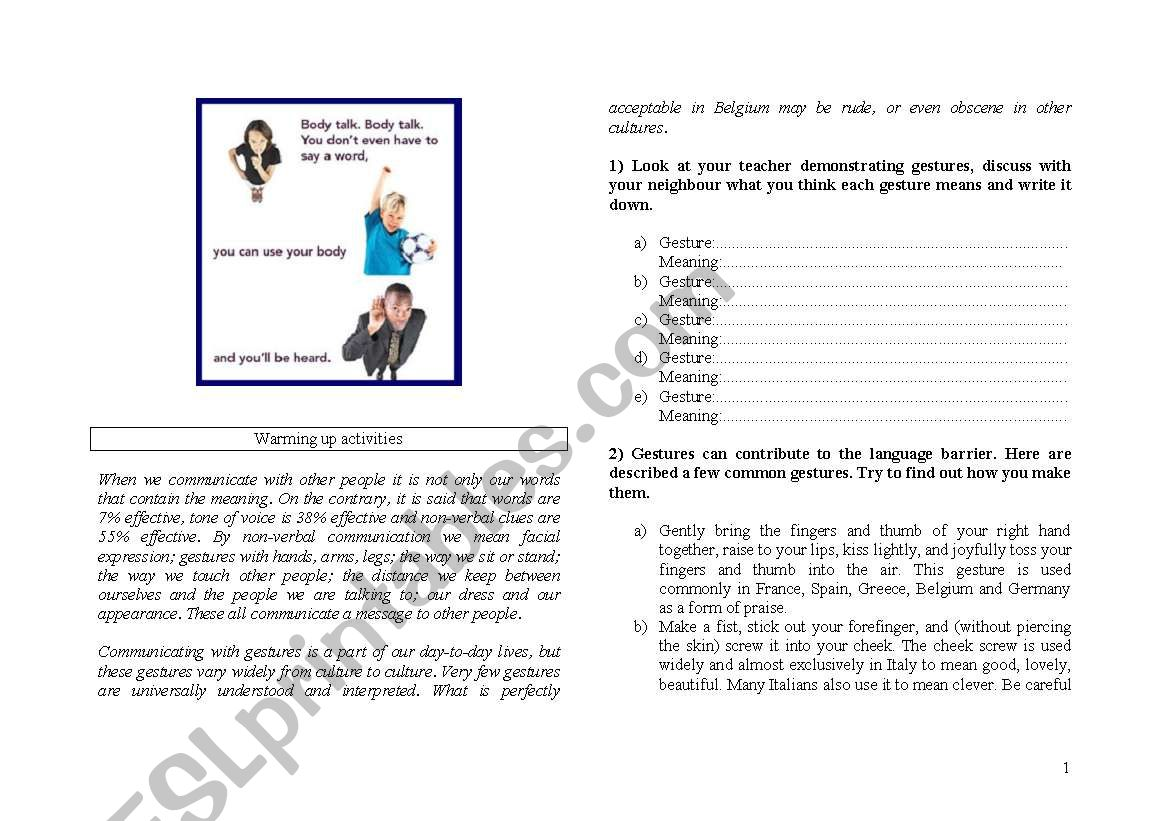 English Worksheets Body Language