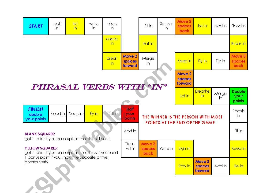 Board Game With Phrasal Verbs With In