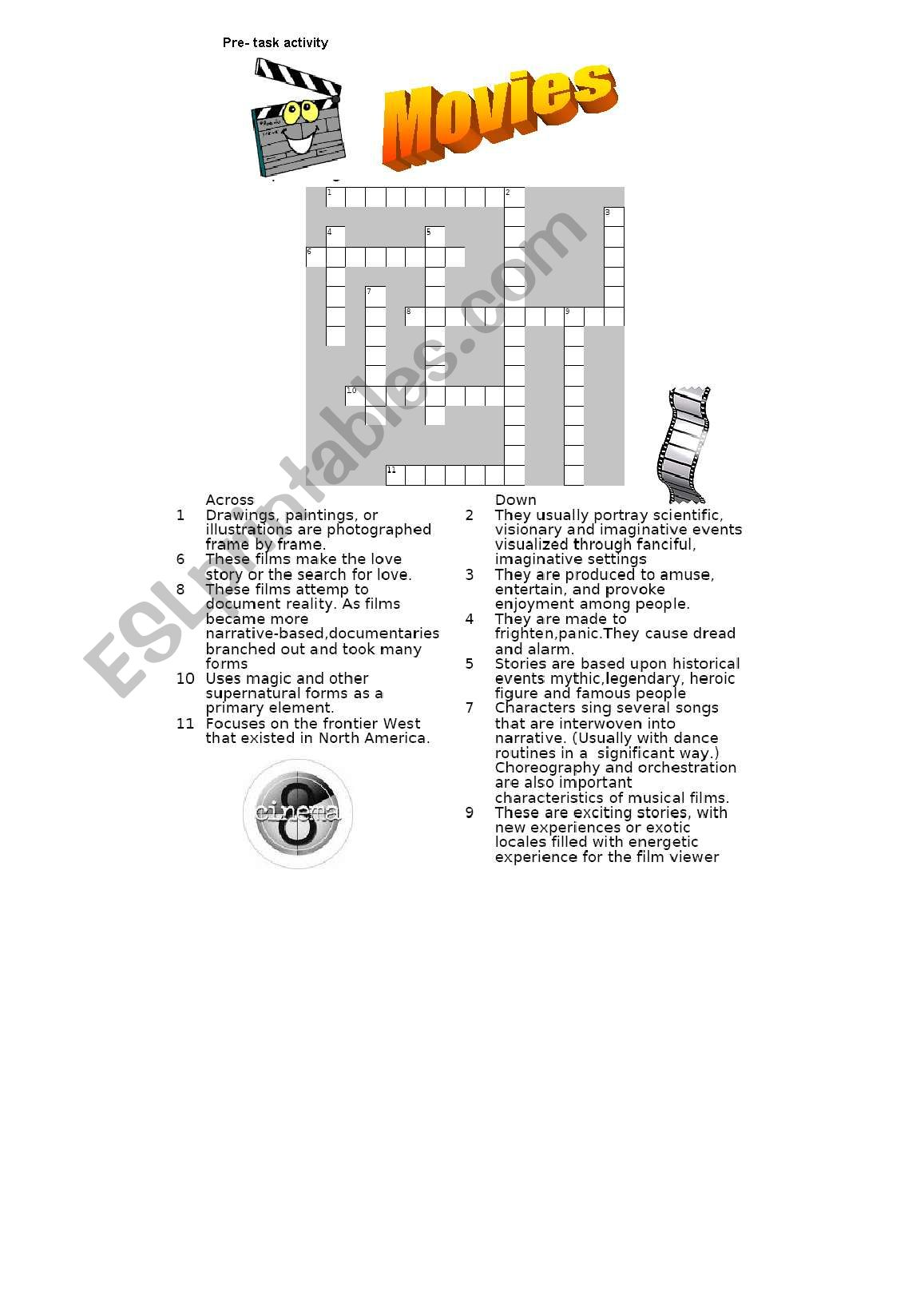 English Worksheets Genres Of Movies Crossword