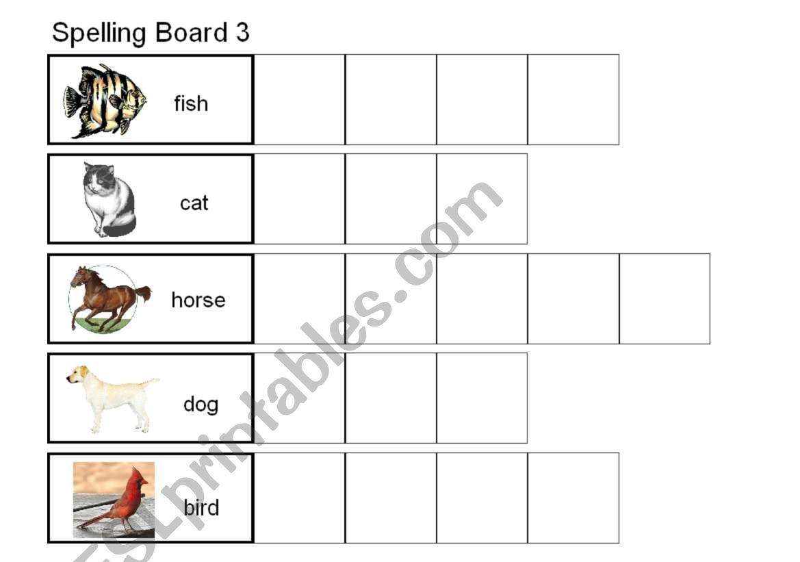 English Worksheets Spelling Animals