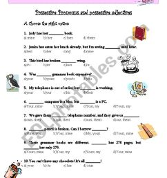 Possessive Pronouns and possessive adjectives - ESL worksheet by verita [ 1169 x 821 Pixel ]