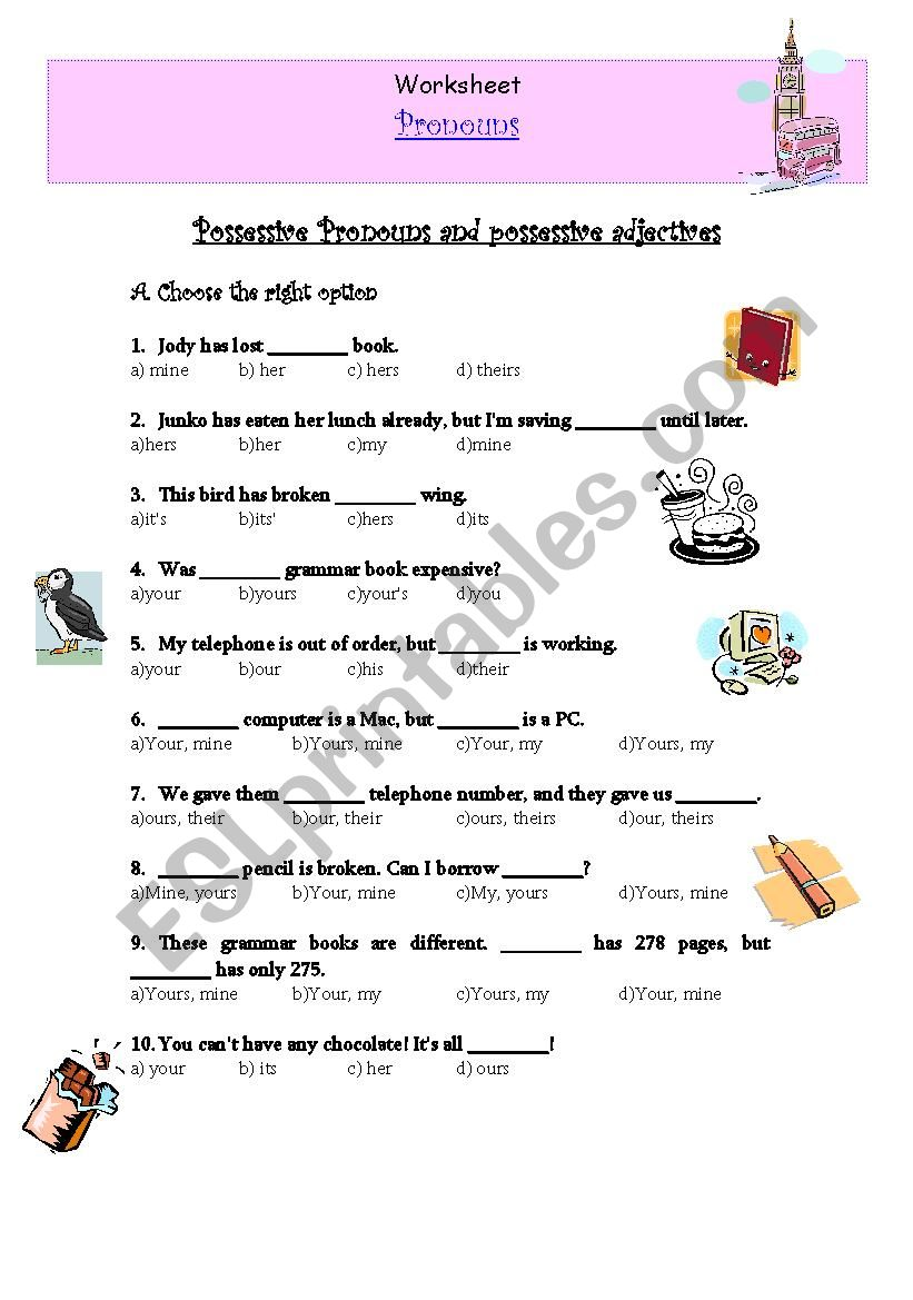 hight resolution of Possessive Pronouns and possessive adjectives - ESL worksheet by verita