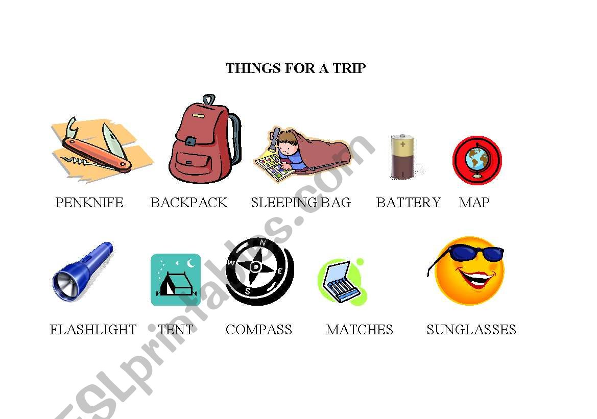 English Worksheets Things For A Trip