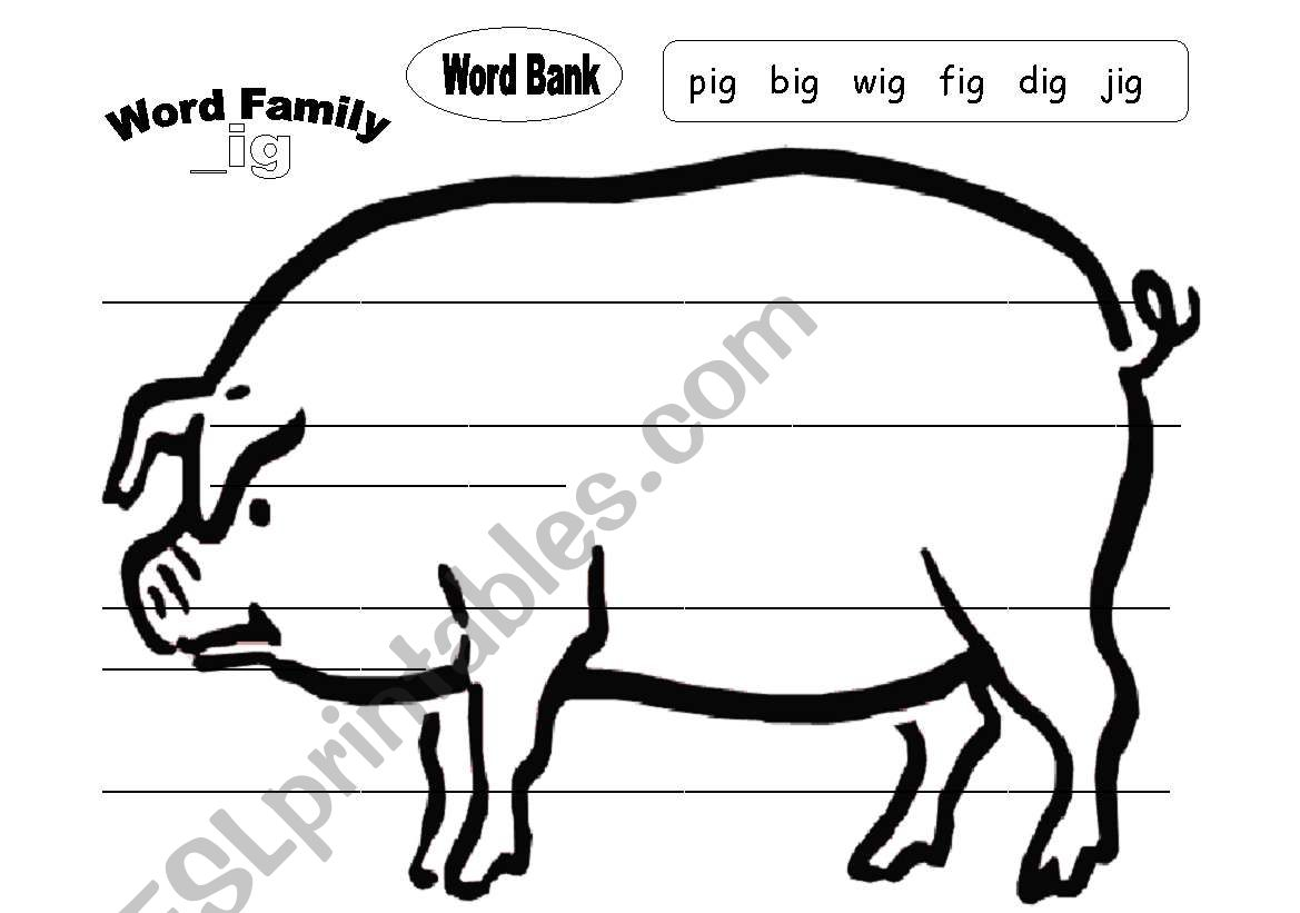 English Worksheets Ig Word Family