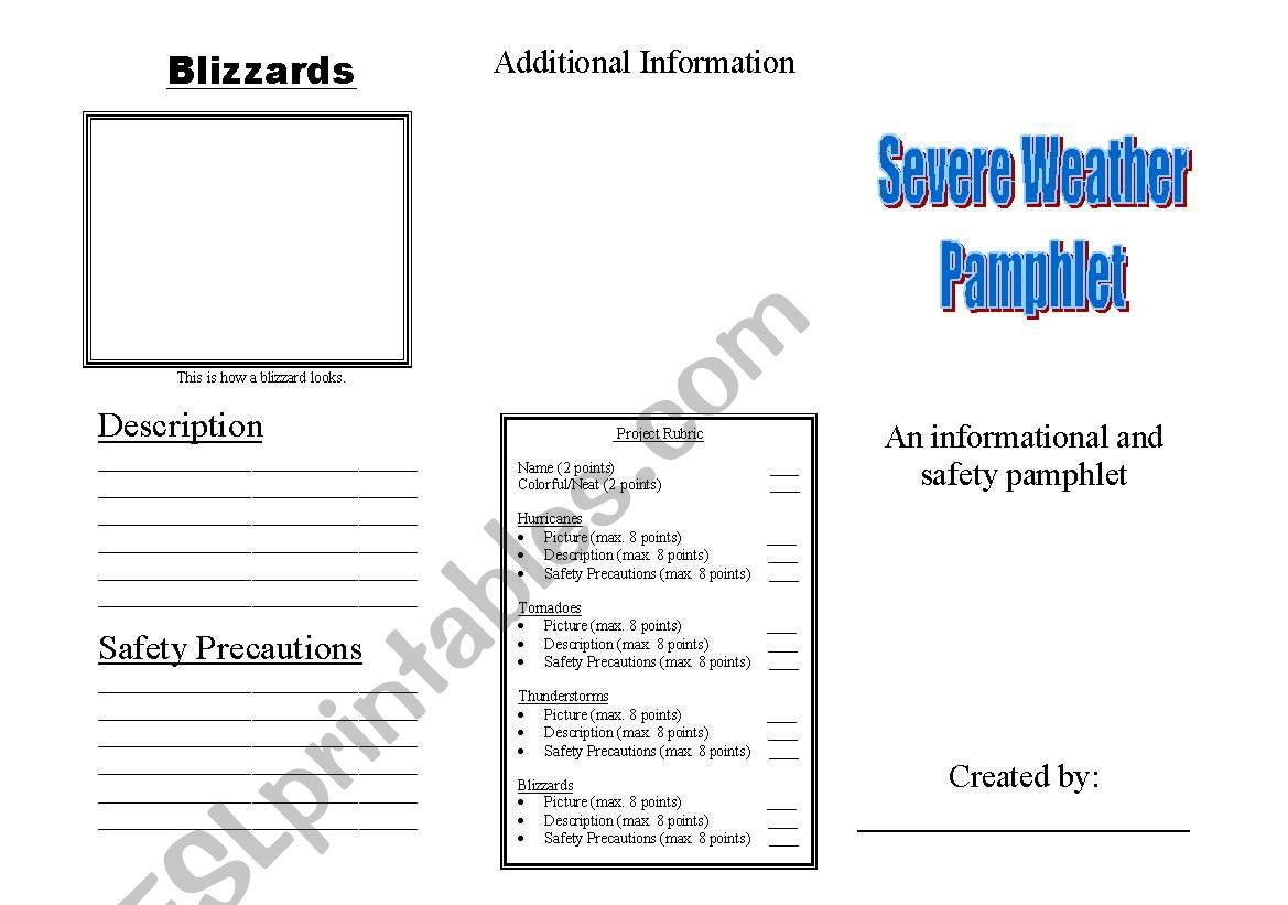 English Worksheets Severe Weather Blizzards Tornadoes