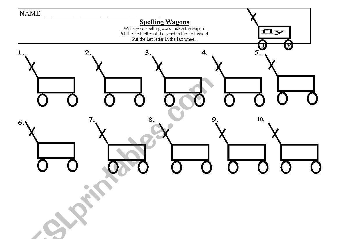 English worksheets: Spelling Wagon