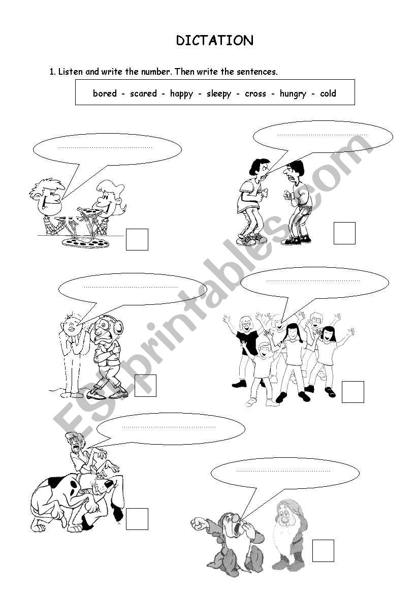 English worksheets: We are dictation