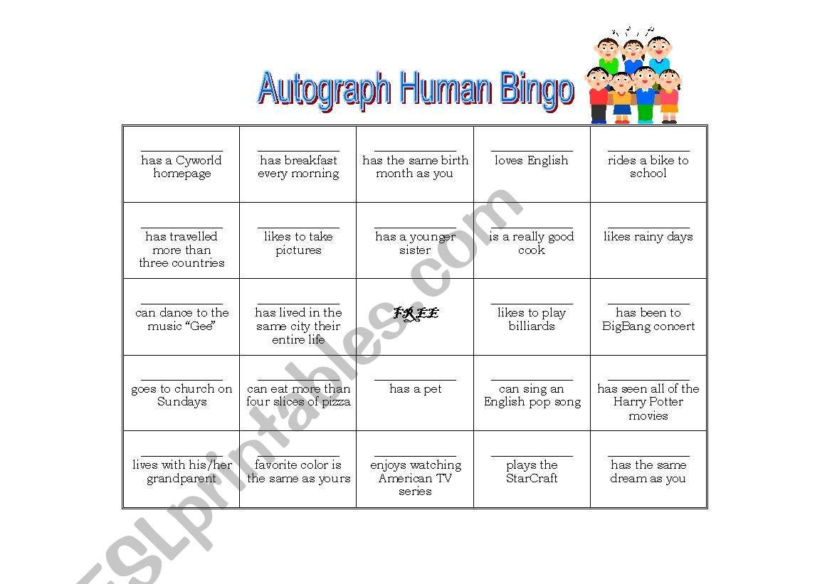 English Worksheets Autograph Human Bingo