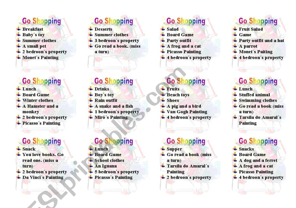 English Worksheets Let S Go Shopping Board Game Part Ii