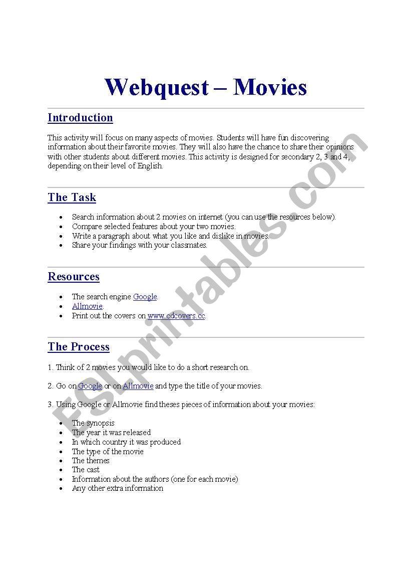 English Worksheets Movies Webquest