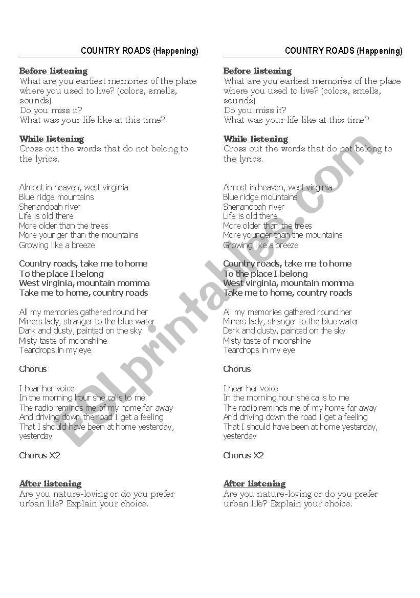 english worksheets song country