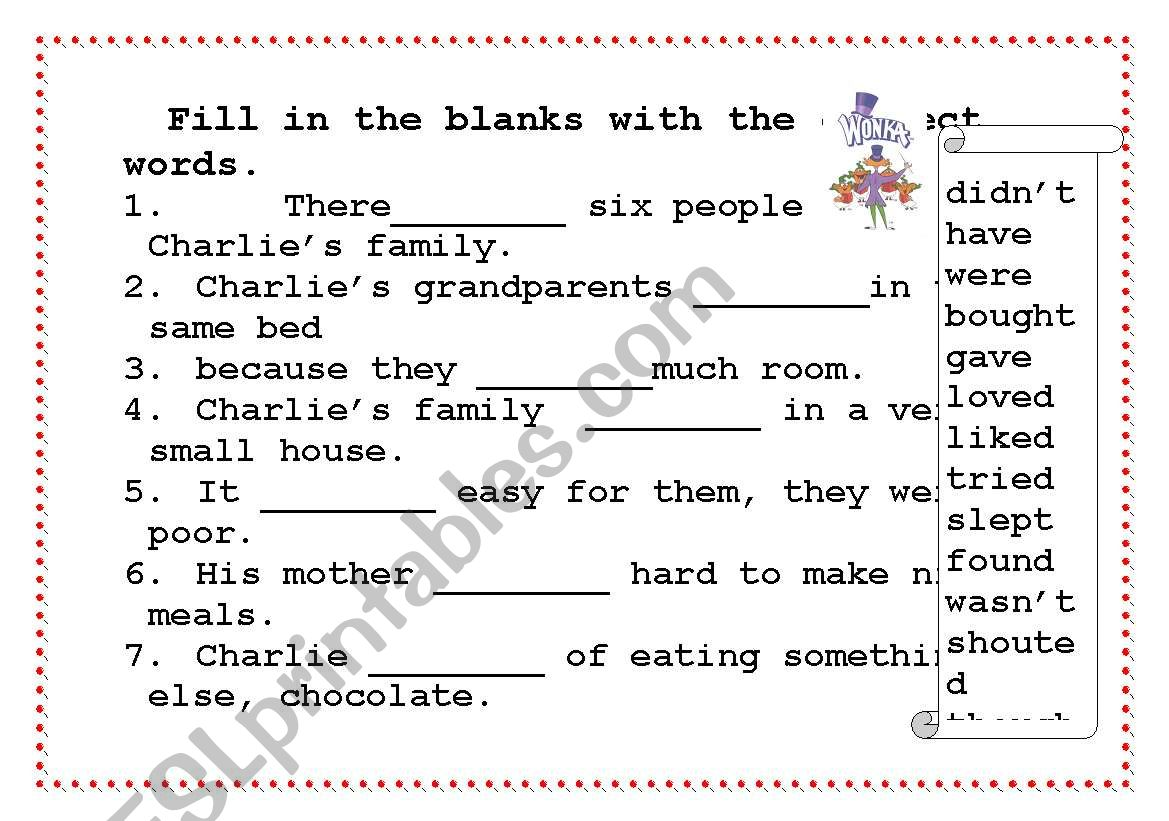 English Worksheets Past Simple Charlie And The Chocolate