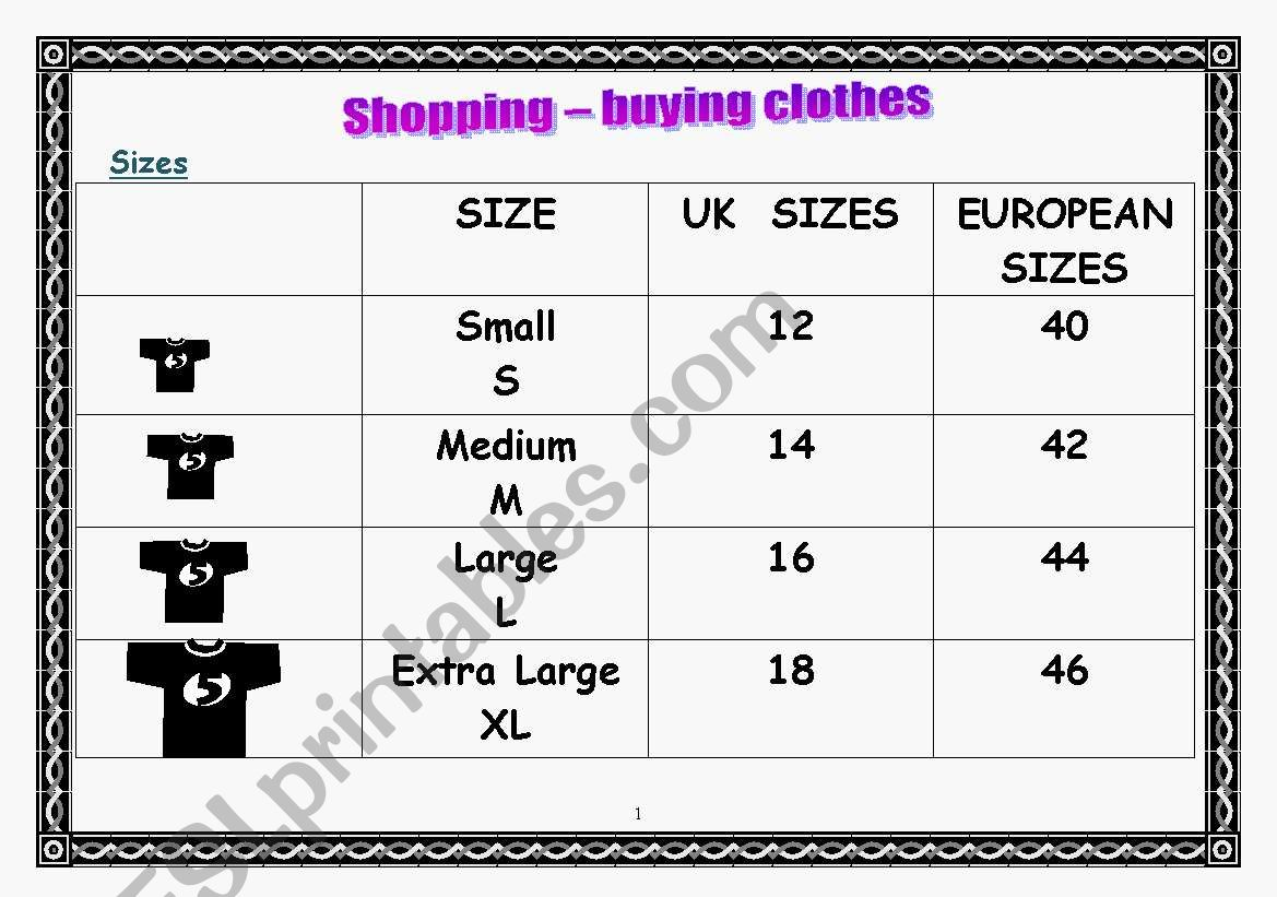Shopping Buying Clothes Sizes And Speaking Activites 4