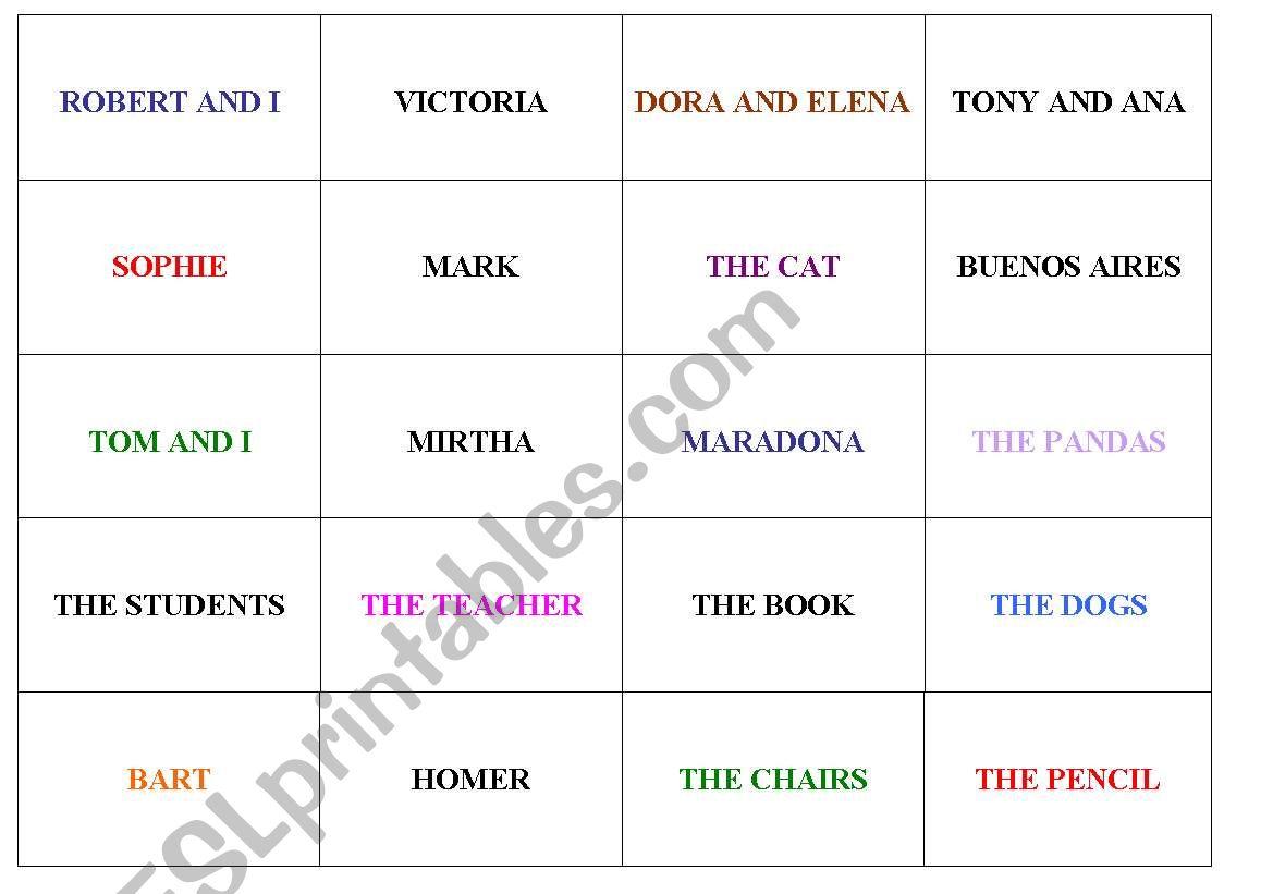 English Worksheets Personal Pronouns Game
