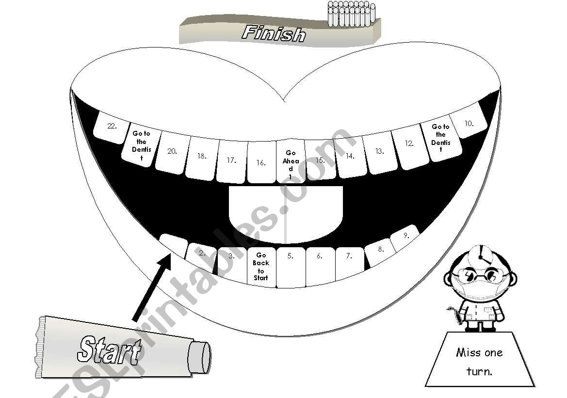 Mouth Gameboard In Greyscale With Cards And Tokens