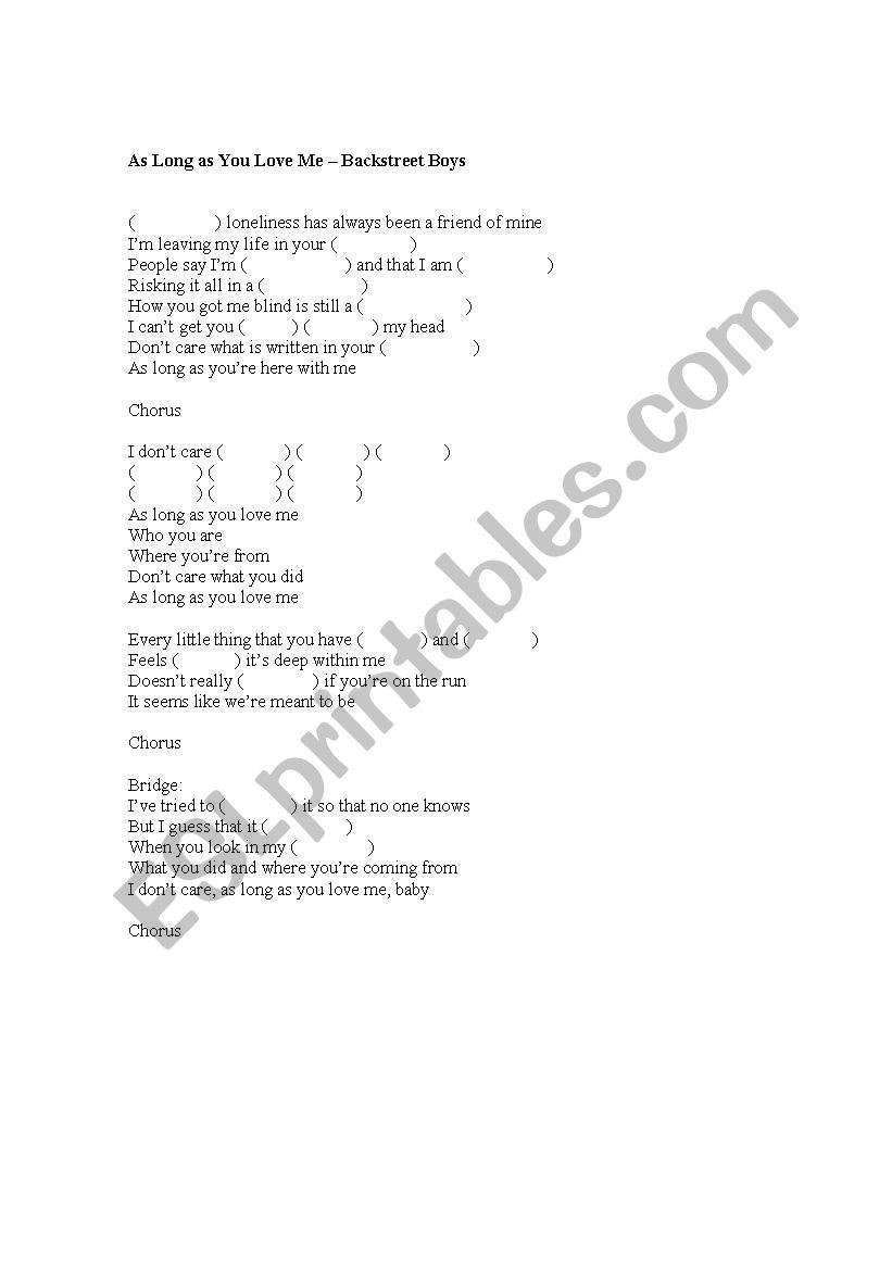 English worksheets: Backstreet Boys: As Long as You Love