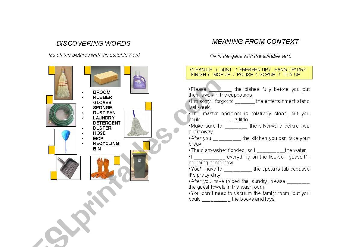 English Worksheets Cleaning Supplies And Verbs
