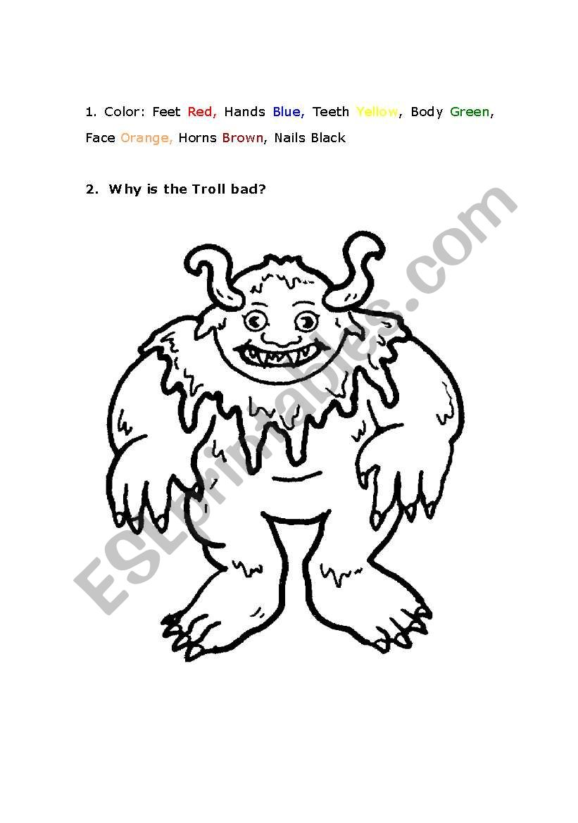 English worksheets: Troll Coloring Page