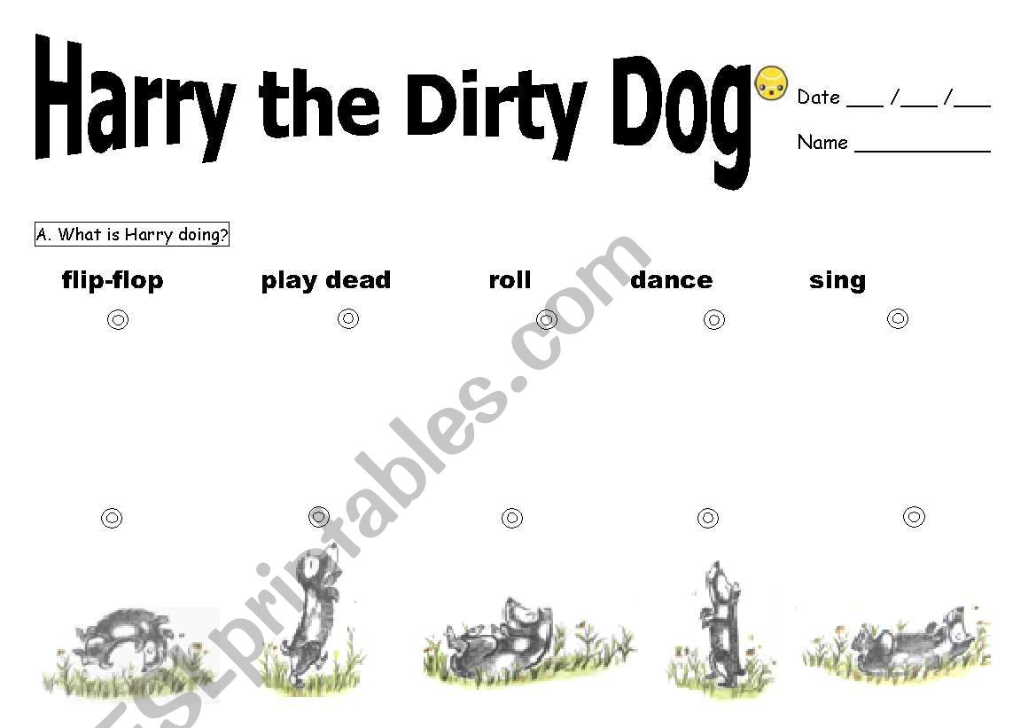 English Worksheets Harry The Dirty Dog