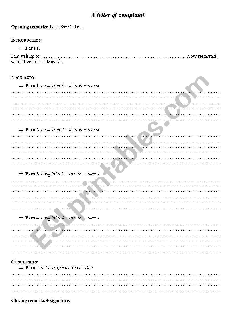 English worksheets: A letter of complaint