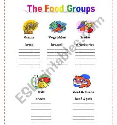 The 5 Food Groups - ESL worksheet by nalawood [ 1169 x 821 Pixel ]