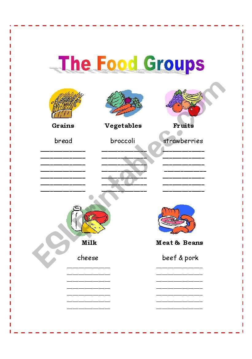 medium resolution of The 5 Food Groups - ESL worksheet by nalawood